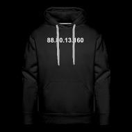 Sweaters ~ Mannen Premium hoodie ~ IP 88.80.13.160 (witte opdruk)