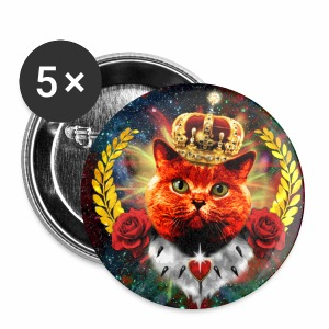 Red Roses Cat the Queen - rote Katze mit Krone Anstecker 32 mm Button - Buttons mittel 32 mm