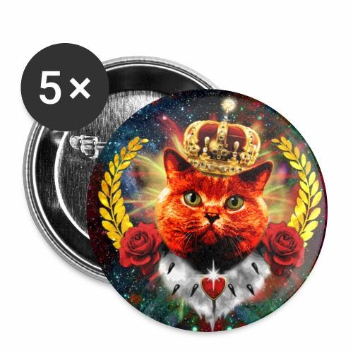 Red Roses Cat the Queen - rote Katze mit Krone Anstecker 56 mm Button - Buttons groß 56 mm