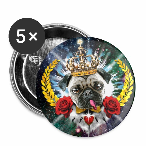 Mops - Pug The King - Krone - rote Rosen Hund Anstecker 56 mm Button - Buttons groß 56 mm
