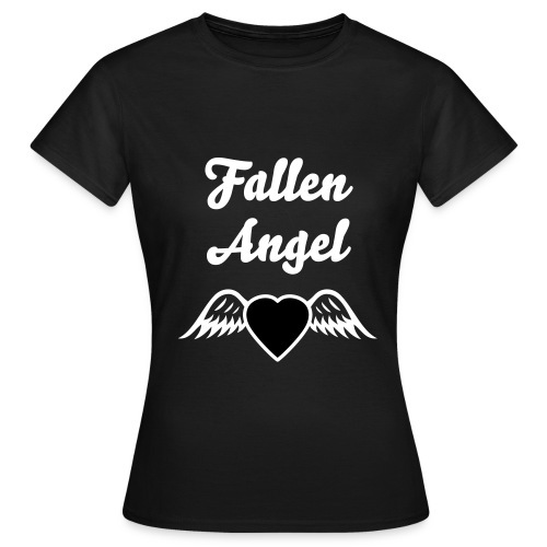 'Fallen Angel' Black t-shirt with wings on back - Women's T-Shirt