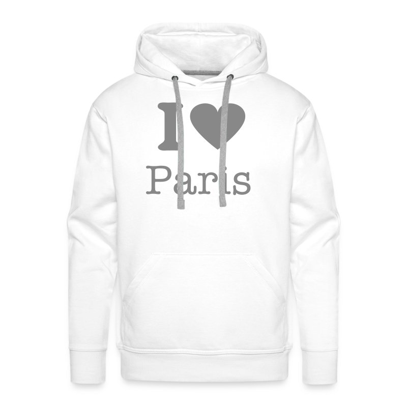 Sweat Blanc Love Paris - Sweat-shirt à capuche Premium pour hommes