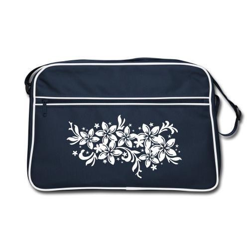 navyfarbene Retrotasche karibische Blüten - Retro Tasche
