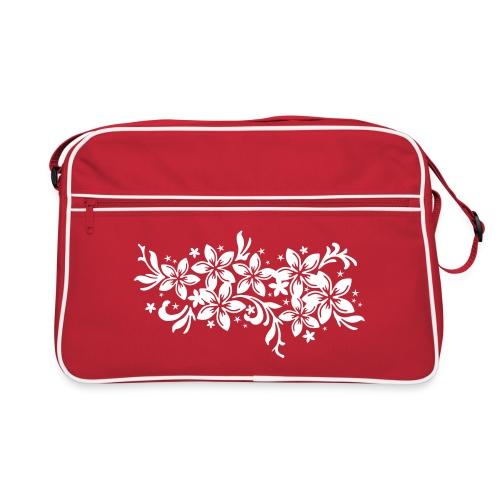 rote Retrotasche karibische Blüten - Retro Tasche