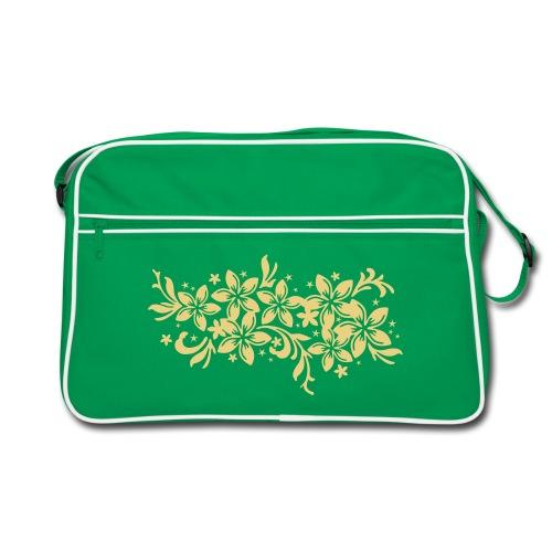 braune Retrotasche karibische Blüten - Retro Tasche