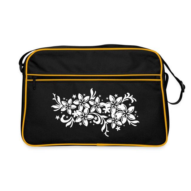 schwarze Retrotasche karibische Blüten