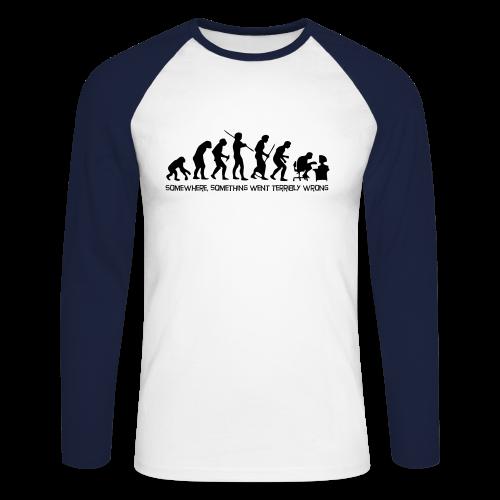 wrong evolution - Men's Long Sleeve Baseball T-Shirt