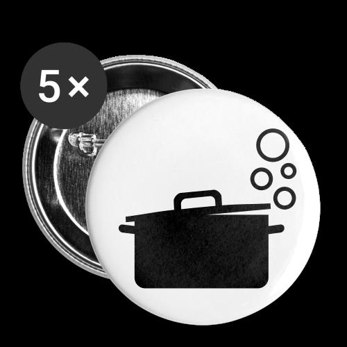 dot.cooking.topf | button (32 mm) | kochtopf, kochen - Buttons mittel 32 mm (5er Pack)