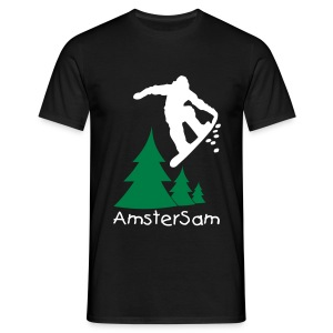 Men's Classic T-shirt 'Snowboarding' Black/White - Men's T-Shirt