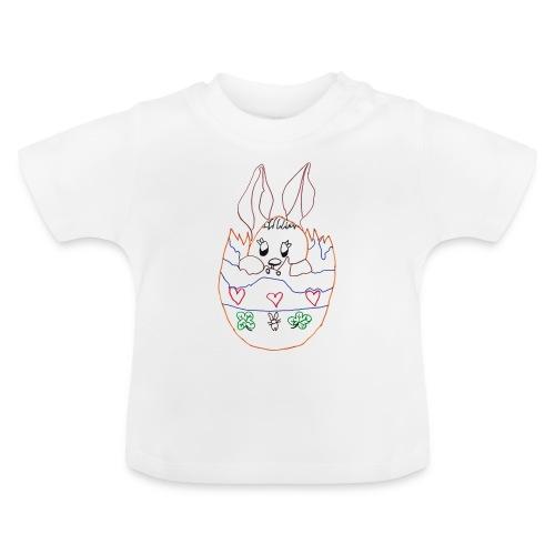 T-SHIRT BLANC BEBE L'OEUF DE PAQUES AVEC LAPIN - T-shirt Bébé