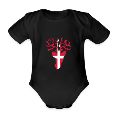 Deer head and antlers with Swiss flag Baby Bodysuits