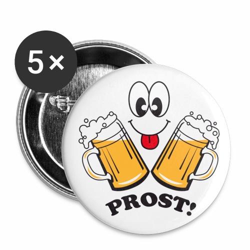 Prost! Witziger Anstecker Bier Smiley Button Anstecker - Buttons groß 56 mm
