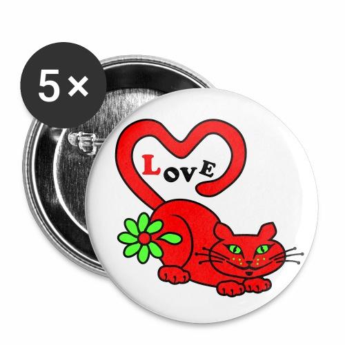 Cat in Love / Verliebte Katze Neon Rot Anstecker Button - Buttons groß 56 mm