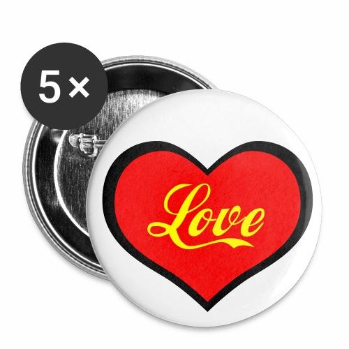 LOVE / LIEBE im Herzen Neon Rot + Gelb Anstecker / Button - Buttons groß 56 mm
