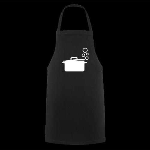 dot.cooking.topf | kochschürze (weiss auf schwarz) | kochen & grillen - Kochschürze