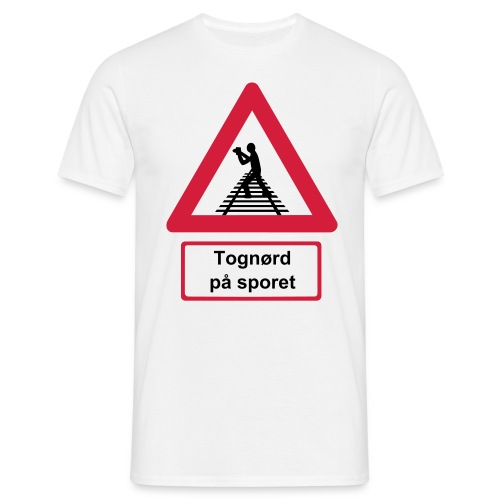 Skilt Tognørd på sporet - Herre-T-shirt