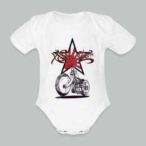 Baby - XS Kustom Japan Star - White - Short sleeve - Organic Short-sleeved Baby Bodysuit