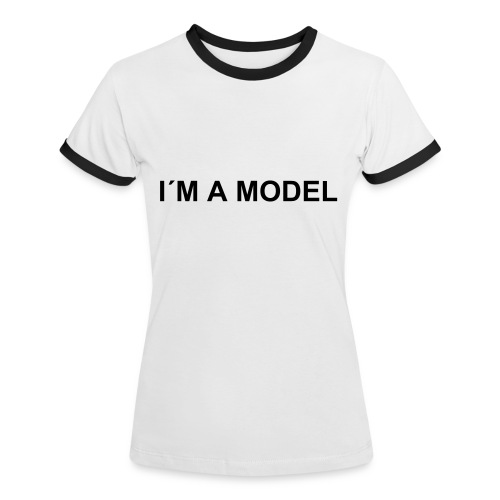 Model Tee W black/white - Kontrast-T-shirt dam