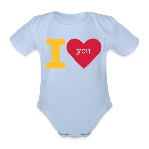 I love you baby grow by/silentcreeper - Organic Short-sleeved Baby Bodysuit