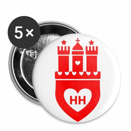 Hamburg Wappen mit Herzen HH Anstecker / Button 1c - Buttons groß 56 mm