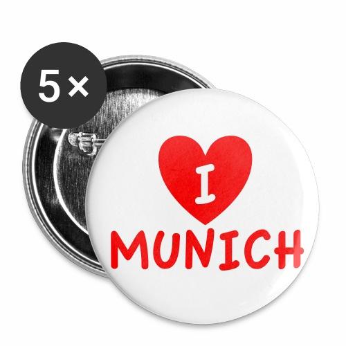 I LOVE (Heart) MUNICH - Ich liebe (Herz) Muenchen Anstecker Button - Buttons mittel 32 mm