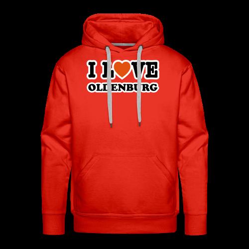 kapuzenpullover i love oldenburg (flockdruck) | roter hoodie für oldenburg liebhaber - Männer Premium Hoodie