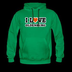 kapuzenpullover i love oldenburg (flockdruck) | grüner hoodie für oldenburg liebhaber - Männer Premium Hoodie