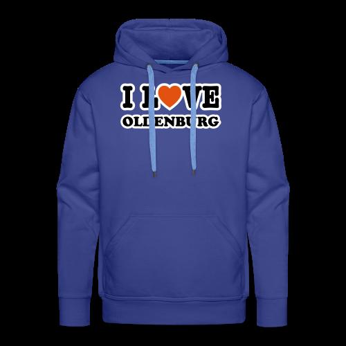 kapuzenpullover i love oldenburg (flockdruck) | blauer hoodie für oldenburg liebhaber - Männer Premium Hoodie