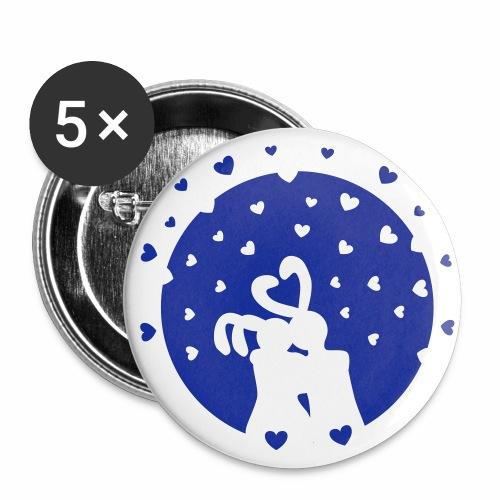 Rabbits in Love / Veriebte Häschen 1c Anstecker Button - Buttons groß 56 mm