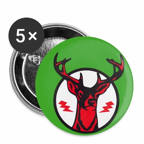 Roter Hirsch auf grün - Button Anstecker - Buttons mittel 32 mm