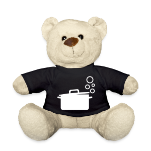 kochbär | stofftier gestaltet mit kochmotiv kochtopf auf dem shirt - Teddy