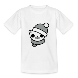 Cute For Kids - Kitten (White/Black & Silver) - Teenage T-shirt
