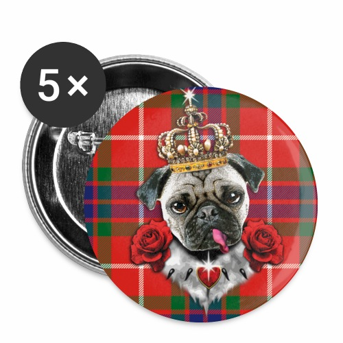 Mops - Pug The King - Krone - rote Rosen  Schottland  Muster Anstecker Button - Buttons mittel 32 mm