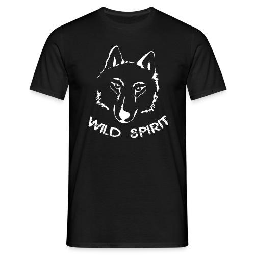 Herren Shirt Wolf canis lupus Wild Spirit weiss Tiershirt Shirt Tiermotiv - Männer T-Shirt
