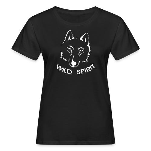 Bio Damen Shirt Wolf canis lupus Wild Spirit weiss Tiershirt Shirt Tiermotiv - Frauen Bio-T-Shirt