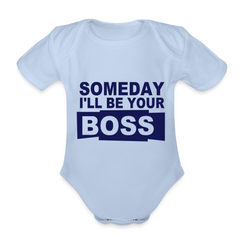 Short sleeve one-peice for babies - Little boss - Organic Short-sleeved Baby Bodysuit