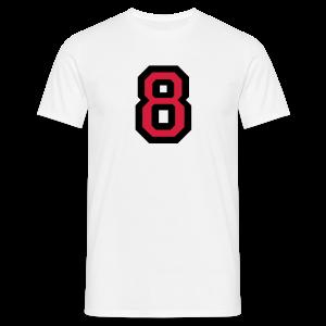 Nummer 8 T-Shirt (Schwarz/Rot) - Männer T-Shirt