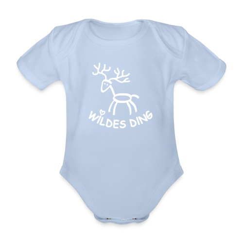 shirt t-shirt hirsch geweih hirschkopf elch hirschgeweih wald wild tier jäger jägerin jagd förster tiershirt shirt tiermotiv weihnachten rentier - Baby Bio-Kurzarm-Body
