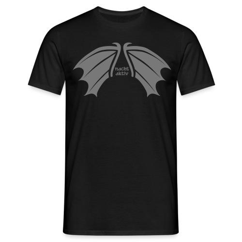 Herren Shirt nachtaktiv Fledermaus Vampir Flügel grau Tiershirt Shirt Tiermotiv - Männer T-Shirt