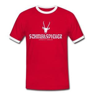 Herren KontrastShirt Schmalspiesser Spiesser Hirsch Geweih weiss Tiershirt Shirt Tiermotiv - Männer Kontrast-T-Shirt