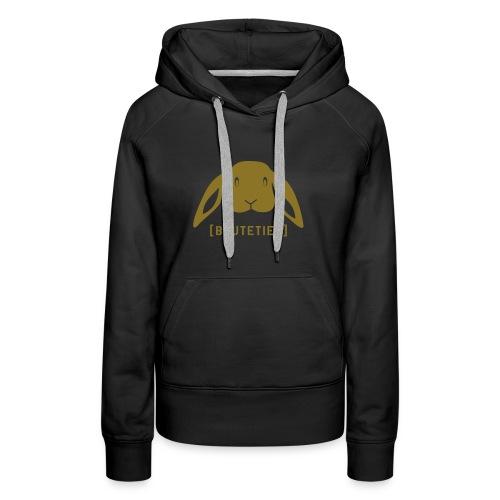 Damen Kapuzenpullover Beutetier Hase Häschen Kaninchen gold matt Tiershirt Shirt Tiermotiv - Frauen Premium Hoodie