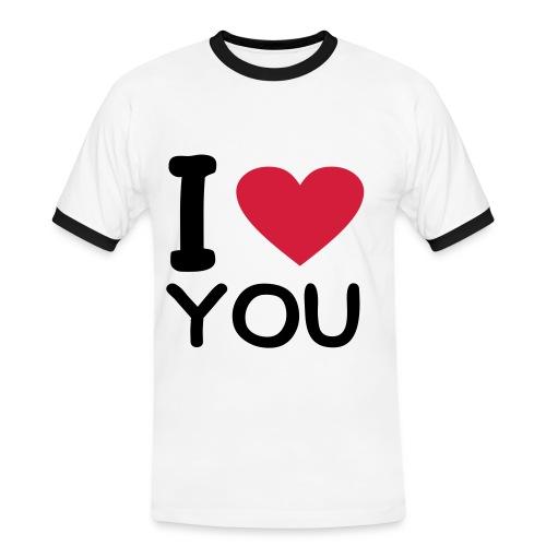 I - Kontrast-T-shirt herr