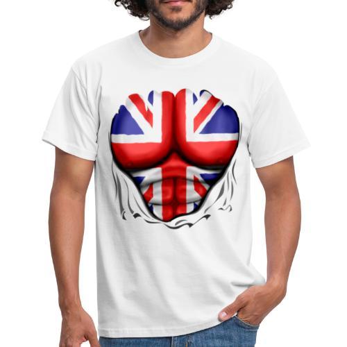 UK Flag Ripped Muscles, six pack, chest t-shirt - Men's T-Shirt