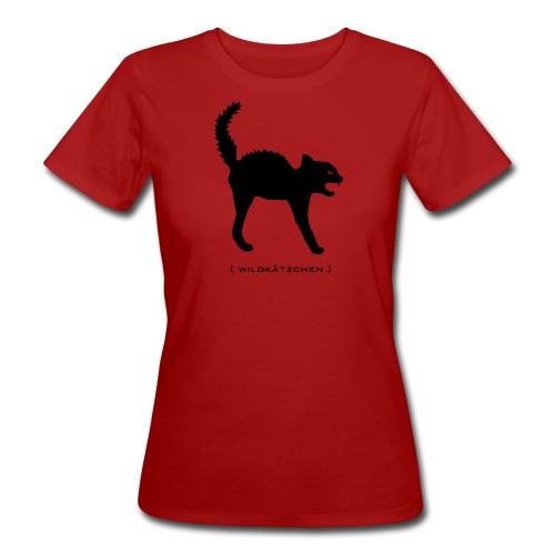 Bio Damen Shirt Katze Wildkätzchen schwarz Tiershirt Shirt Tiermotiv  - Frauen Bio-T-Shirt