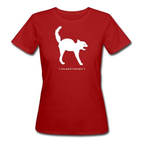 Bio Damen Shirt Katze Wildkätzchen weiss Tiershirt Shirt Tiermotiv - Frauen Bio-T-Shirt