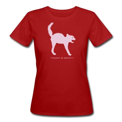 Bio Damen Shirt Katze Wildkatze Kratzt und Faucht rosa Tiershirt Shirt Tiermotiv - Frauen Bio-T-Shirt