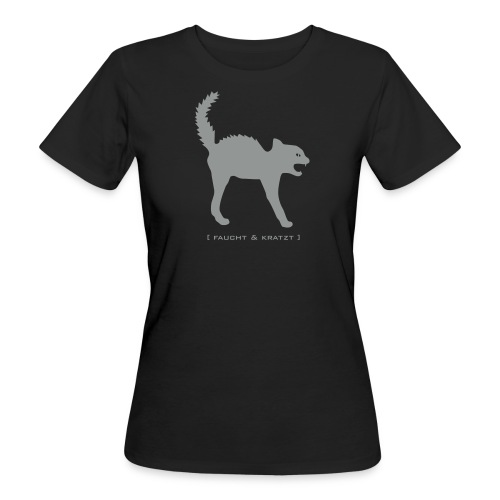 Bio Damen Shirt Katze Wildkatze Kratzt und Faucht silbergrau Tiershirt Shirt Tiermotiv - Frauen Bio-T-Shirt