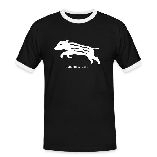 Herren Kontrast Shirt Wildschwein Ferkel Jungwild weiss Tiershirt Shirt Tiermotiv - Männer Kontrast-T-Shirt