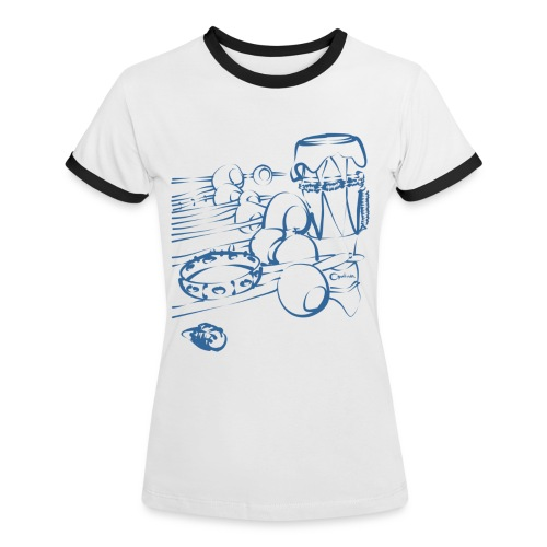 Capoeira Instrumentos by Qualhada White and Blue - T-shirt contrasté Femme
