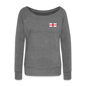 Women's wide Neck Long Sleeve Top with England flag Logo - Women's Boat Neck Long Sleeve Top